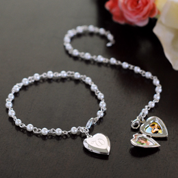 Pearl Bracelet with Locket Charm