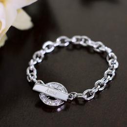 Personalized Rhinestone Toggle Bracelet