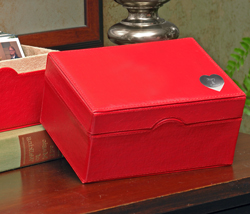 Red Photo Box with Engraved Heart