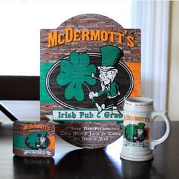 Irish Pub & Grub Sign, Stein & Coaster Set