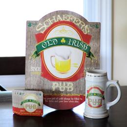 Irish Beer Sign, Stein & Coaster Set