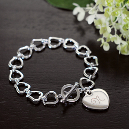 Personalized Heart Link Bracelet