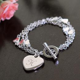 Personalized Triple Strand Heart Bracelet