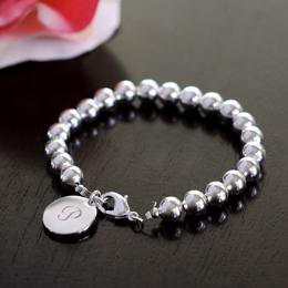 Personalized Silver Bead Bracelet