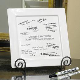 Personalized Signature Square Platter, Pen & Easel Set