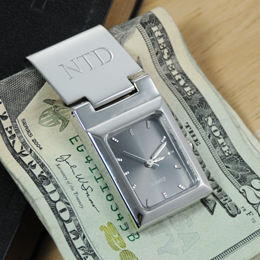 Graphite Face Watch Money Clip