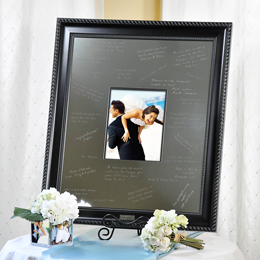 Elegant Signature Picture Frame with Engraved Photo Mat