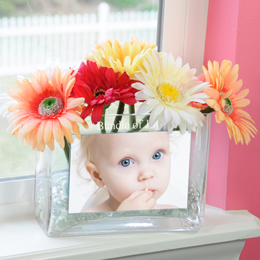 Personalized Baby Glass Photo Vase