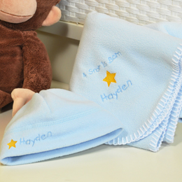 A Star is Born Personalized Baby Boy Blanket & Hat Set
