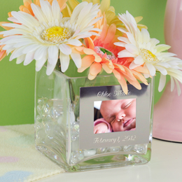 Personalized Baby Square Glass Vase with Photo Frame