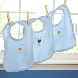 """It's a Boy!"" Personalized Baby Bibs (Set of 3)"