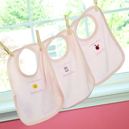 """It's a Girl!"" Personalized Baby Bibs (Set of 3)"