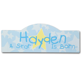 A Star is Born Baby Sign in Blue