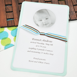 Circle Baby Photo Announcement & Ribbon Kit in Blue