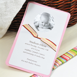 Circle Baby Photo Announcement & Ribbon Kit in Pink