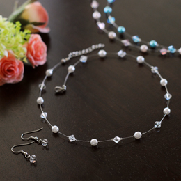 Colored Pearl & Crystal Jewelry Set